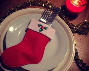 FIVE Hand made stocking cutlery holder