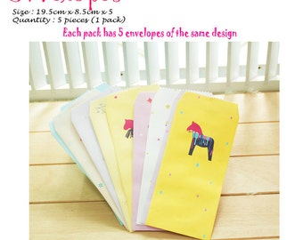 Colourful and Cute Envelopes Pack of 5 Horse