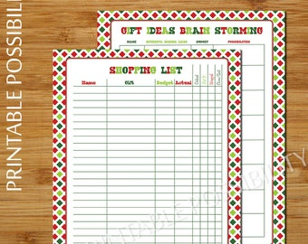 Christmas Gift Planner Set - 2 Page - Gift Planner and Shopping List Printable - 8.5x11 inch Printable