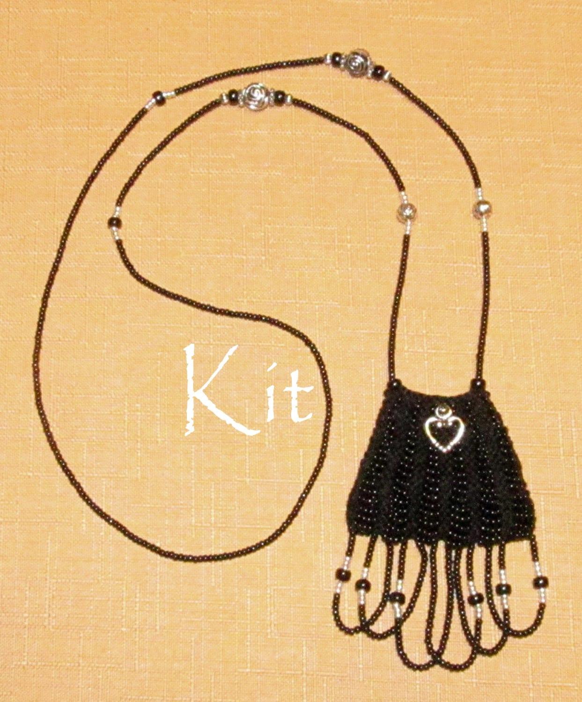 Knitting Jewelry Kits : Paulette kit a beaded knit necklace purse amulet bag black