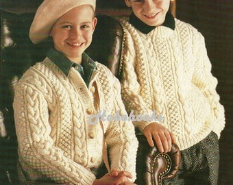 Childs / childrens aran jumper /  sweater and cardigan - 24 to 34 inch chest - Aran yarn - Knitting Pattern - PDF instant download