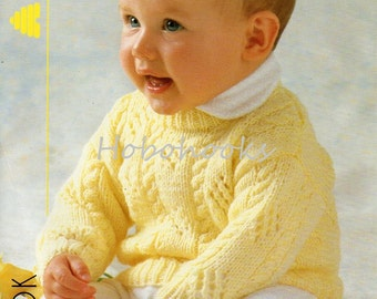 Baby Knitting Pattern , baby jumper pattern, baby sweater pattern - 16 to 22 inch chest - DK - baby knitting patterns - PDF instant download