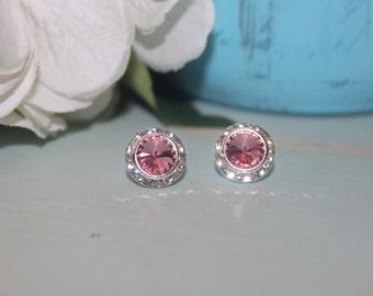 Light Rose Crystal Post Earrings 13mm