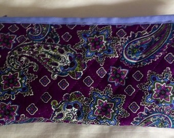 Quilted Cosmetic Bag - Paisley Purple