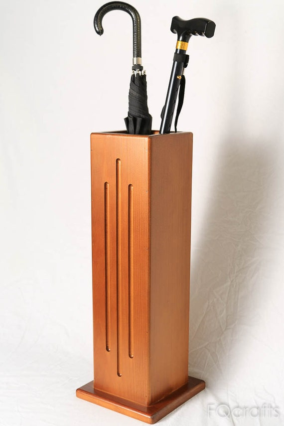 Wooden umbrella stand and walking cane holder vertical