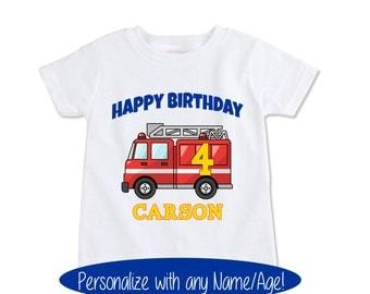 Firetruck Birthday shirt Boys custom name age birthday toddler baby fireman shirt, Personalized Fire truck fireman Birthday tshirt (EX 139)