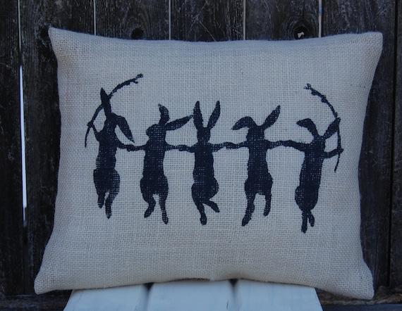 Easter Pillow, Dancing Rabbits,Rabbit Pillow,Spring Decor,Spring Pillow,Rabbit Pillow, Easter Decoration, Burlap Pillow, Rustic Easter Decor