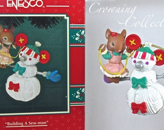 Enesco Building a Sew Man Mouse Ornament Sewman Snowman Sewing Treasury of Christmas String Yarn Buttons Thimbles Mice