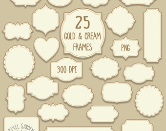 Gold Digital Frames Clip Art Set. Christmas Tags, Labels, Borders in Gold and Cream. Invitations, Scrapbooking Clip Art.