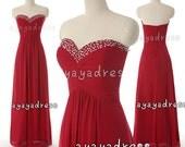 A-line Sweetheart Neckline Chiffon Bridesmaid Dresses, Cheap prom Dress ,long Evening Dress, Red Party Dress ,long Chiffon Prom Dress2015,