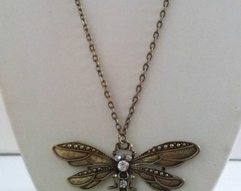 Bronze Dragonfly Necklace , Long Bronze Necklace , Diamante Necklace , Handmade Jewelry , Rhinestone Necklace , Handmade Jewelry ,Gift