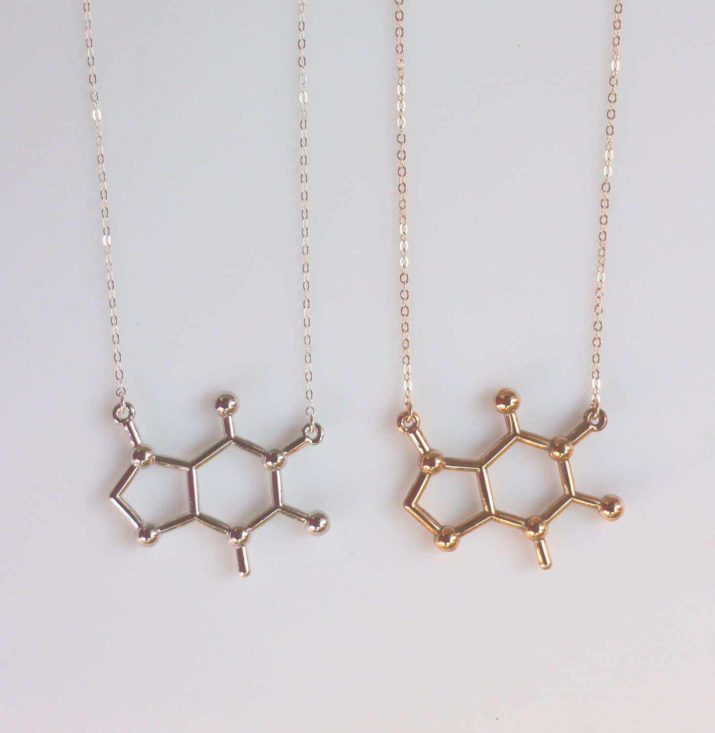 caffeine molecule necklace in gold or silver chemistry