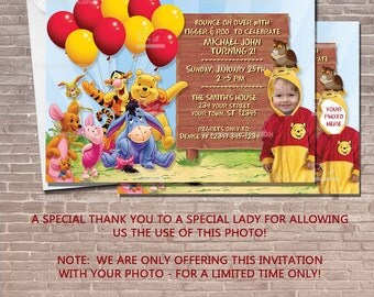 Winnie the Pooh Party Invitation w/ Balloons with Photo / Birthday Invitation / kids / children / For a boy / For a girl /  PRINTABLE