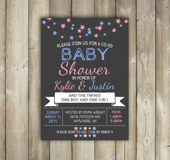 twins co ed baby shower invitation stars one boy one girl pink and
