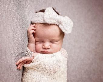 White Newborn Bow Headband