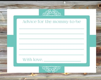 Mint Colored Baby Shower Advice Card - Elegant Advice Card for Baby Shower - Advice Card for Mom to Be - Advice Card for Mommy to Be