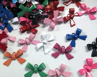 Enamel Bow Charms, Bowknot Pendants