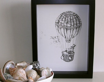 Badger  in a Hot Air Balloon - Black and White Illustration Print