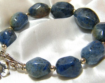 Dumortierite Bracelet, Dumortierite Jewelry, Gemstone Bracelet, Blue Stone Bracelet, Blue Bracelet, Nugget Bracelet