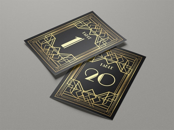 Art deco wedding table cards printable table numbers templates, gold ...