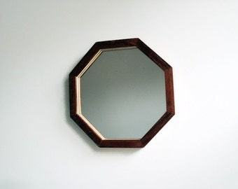 "Wall Mirror, 12.5"" Wooden Mirror, Octagonal Mirror, Geometric Mirror, Handmade Reclaimed Wood Frame, Decorative Wall Mirror, Mahogany Mirror"