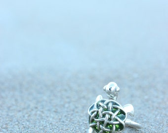 Ring silver with green enamel, collection Scripta turtle