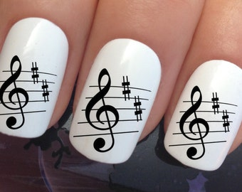 Music note nail art etsy nail decals 309 black music note key water transfers stickers manicure art set x24 prinsesfo Images