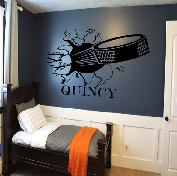 Custom Hockey Puck Bursting Through Wall Decal Custom Sports - Vinyl wall stickers custom