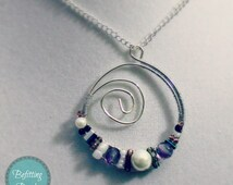 Wire-Wrapped Silver Moonlight Sonata Pendant with Seed beads, Pearls, and Czech Fire-Polished Beads; Includes Silver Chain