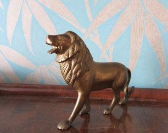 Vintage brass lion figurine