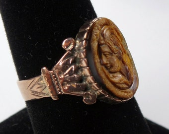 Antique Gold Ring Carved Tiger Eye Ring Intaglio Ring 14k Gold Ring Circa 1800's Victorian Ring Carved Stone Ring Antique Ring