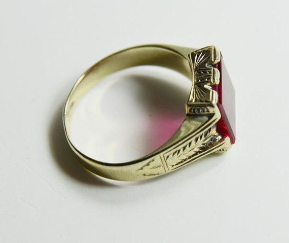 Vintage Mens Ring 14k Gold Mens Red Birthstone Ring Gents Ring