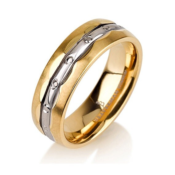 mens titanium wedding band ring 6mm 4 12 sizes 14k yellow plated two