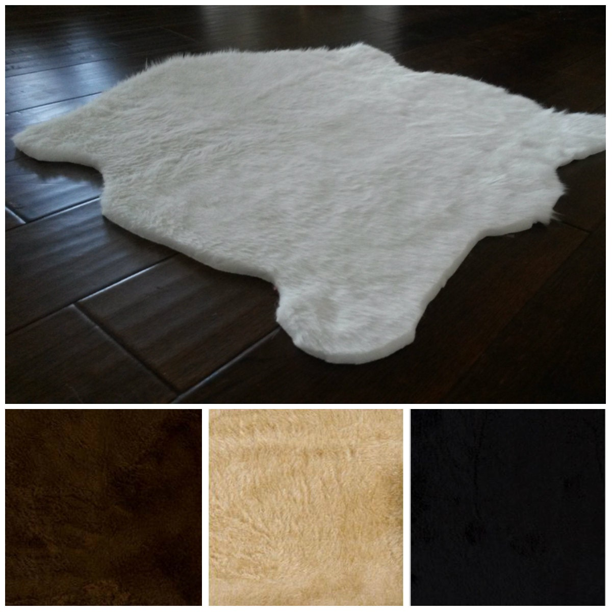 White Faux Fur Rug 5' X 7'/ 3' X 5'/ Many