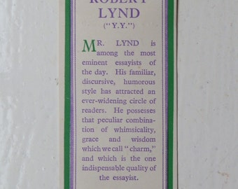 Vintage Book Mark: Robert Lynd, Methuen & Co Ltd