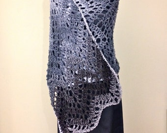Lightweight Shawl & Wrap Rectangular Shawl Black Grey Wrap Long Lace Chevron Wrap Scarf Spring Summer Black Stole Handmade Crochet Shawl