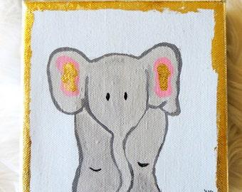 Original Baby Elephant Nursery Painting