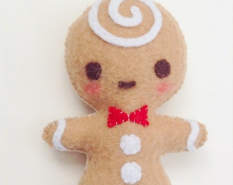 Gingerbread Man Plush Christmas Ornament