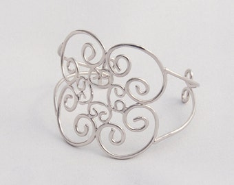 The Aurora Bracelet, A Feminine, Filigree Style Cuff Bracelet made of Sterling Silver with Rhodium Coating