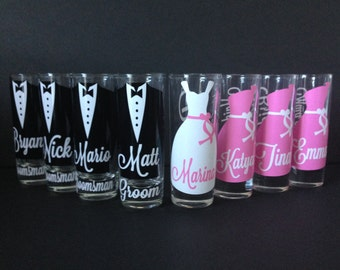 Wedding Glasses, Personalized Bachelorette/Bridesmaid/Groom/Groomsman/Best Man Shot Glasses, Wedding Party Glasses (1)