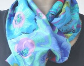 Flowered patchwork scarf made by soft 100% cotton Kaffe Fassett fabrics (available in three different color tones)
