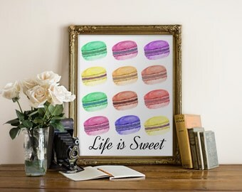 "PRINTABLE Art ""Life is Sweet "" Typography Art Print Macaron Print Macaron Art Macaron Nursery Art Nursery Print Dorm Decor Dorm Art"
