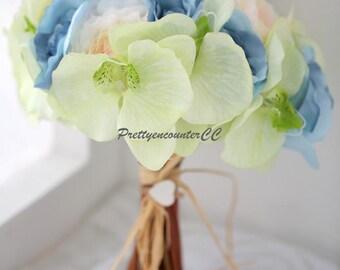Handmade Wedding Bouquet Artificial Wedding Flowers Light Blue Champange Mint Fresh Simulation Flowers Bridal Bouquet or Bridesmaid Bouquet