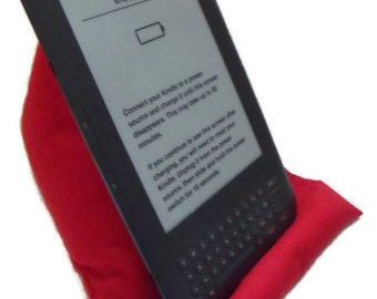 tablet cushion, e reader holder,  i pad rest, kindle cushion, tablet stand, gadget holder, red fabric weighted pillow