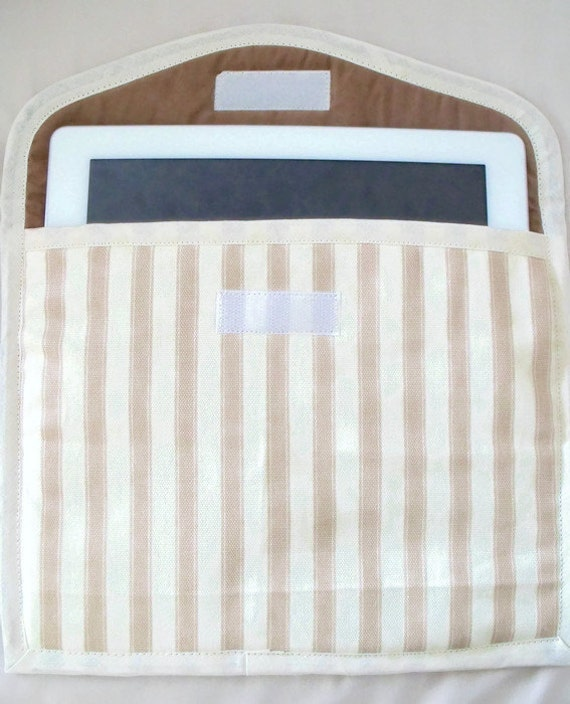 """tablet case, E reader, universal cover, I pad sleeve for larger devices, internal size 10"""" L x 8"""" D striped fabric"""