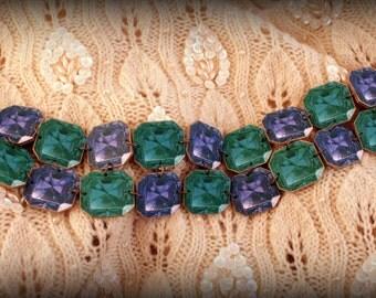 Cuff Bracelet - Link Bracelet - Gem Bracelet - Gemstone bracelet - Square gemstone - Tanzanite - Emerald - Citrine - Turquoise - Costume