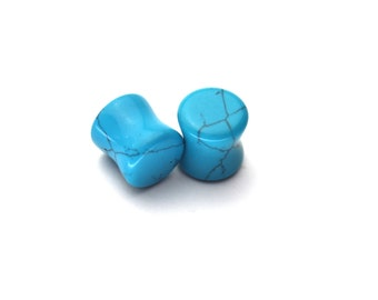 Pair of Turquoise Stone Organic Ear Plugs Double Flare Tunnel Gauges