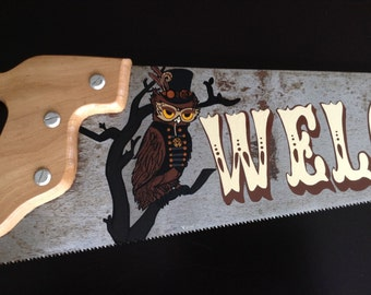 Steampunk Owl Welcome Sign Saw Handpainted Gears
