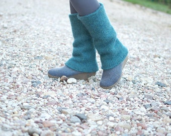 Boiled wool leg warmers Teal blue - knit felted leg warmers natural wool - Winter gift