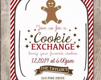 Christmas Cookie Exchange Invitation, Christmas Party Invitation, Printable Christmas Invitation, Christmas Tree, Christmas Cookie Party